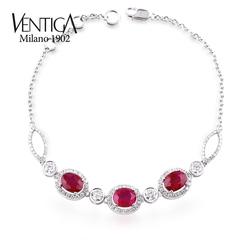 VENTIGA梵蒂加 18K白金天然椭圆形缅甸红宝石手链 彩色宝石手链女