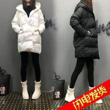 欧洲站2016冬装女装新款欧货潮宽松中长款连帽加厚韩版羽绒服女潮