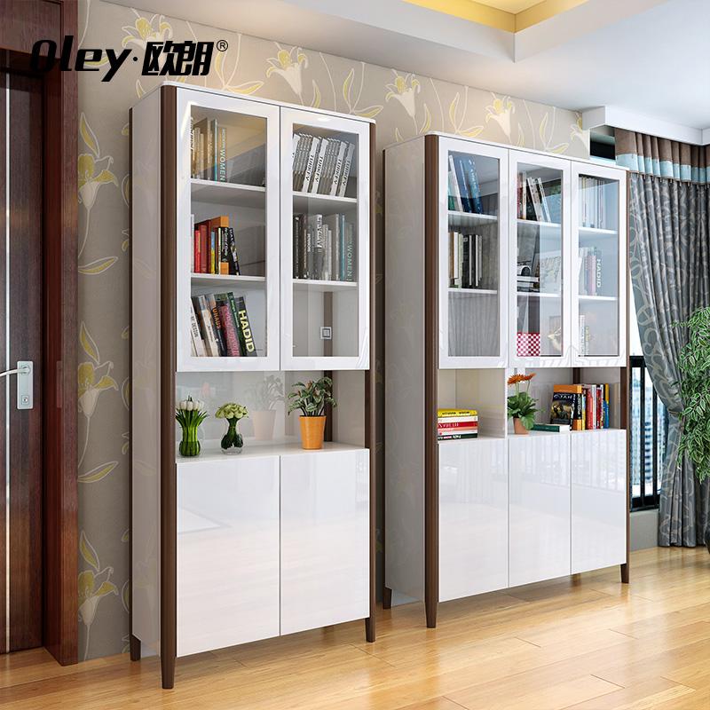 欧朗现代简约玻璃门烤漆书柜