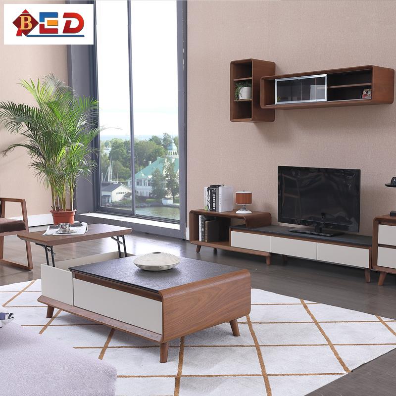 火烧石茶几电视柜组合小户型客厅升降多功能胡桃木北欧伸缩电视柜