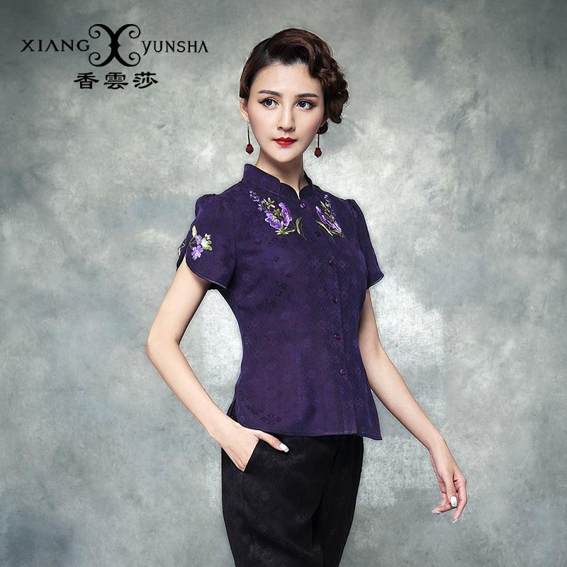 香云莎 紫色短袖绣花立领民族风夏装新款真丝香云纱中式上衣
