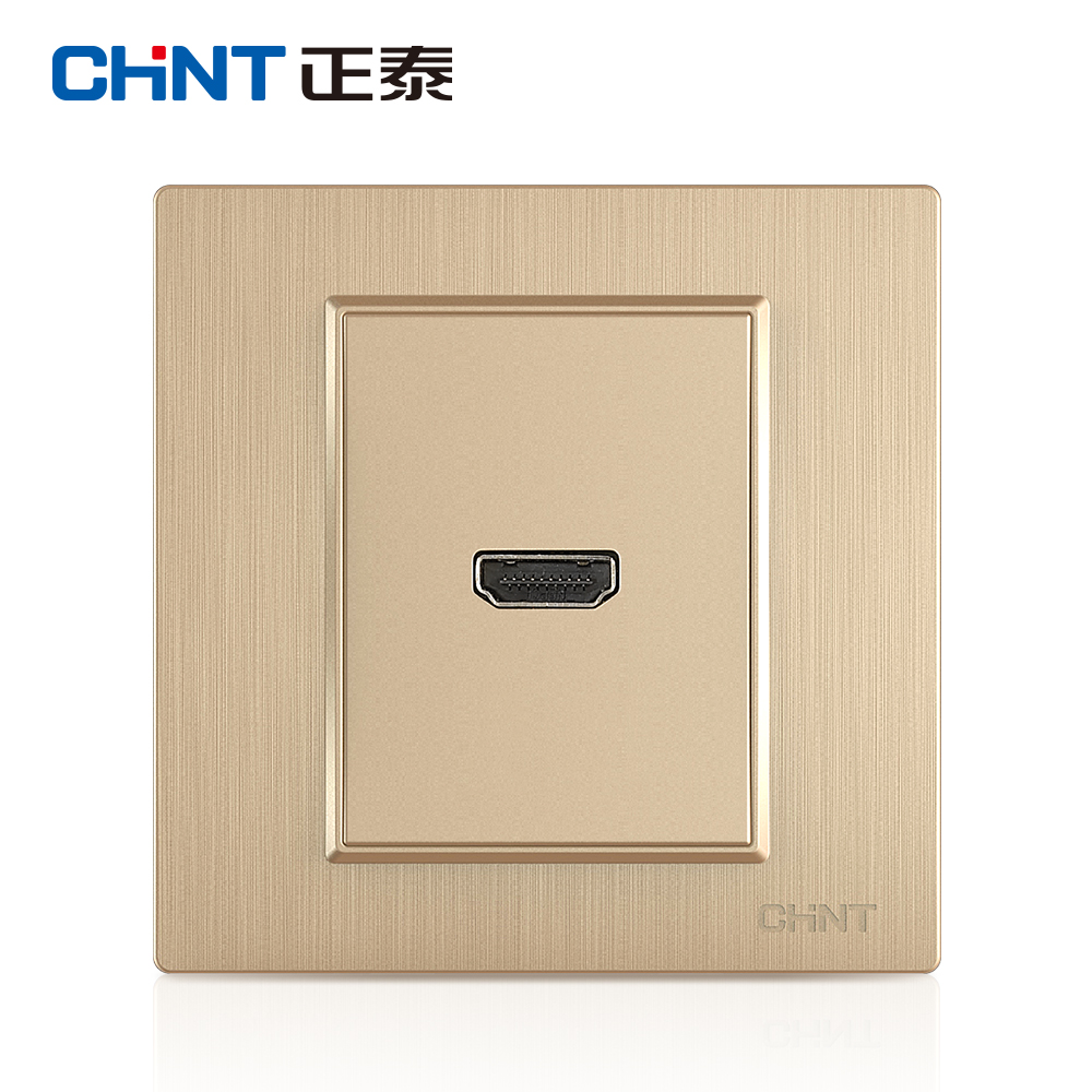CHiNT switch socket panel 7L champagne wire drawing HD video switch socket (HDMI) 86 type socket