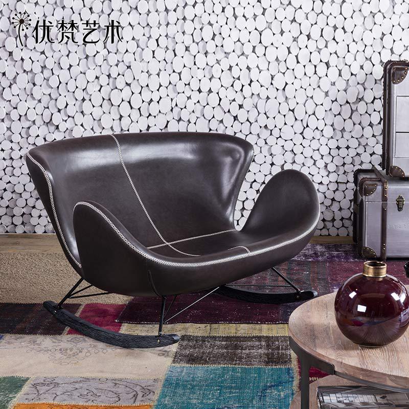 优梵艺术 FIN北欧皮艺双人摇椅逍遥椅工业风创意座椅沙发椅休闲椅