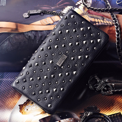 15/16 Tide brand Ms. wallet Long Leather zipper Large-capacity leather Japan and South Korea Rivet Card holder Clutch