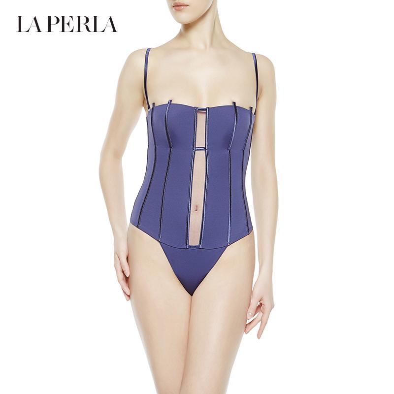 La Perla 女士新品GRAPHIQUE COUTURE系列比基尼连体泳装 含肩带