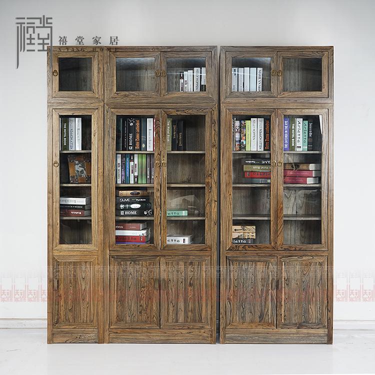 禧堂家居新中式古典原木免漆书橱XTJPSG