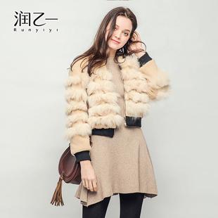 润乙一2017新款韩版仿皮草大衣女修身短款夹克时尚冬装短外套