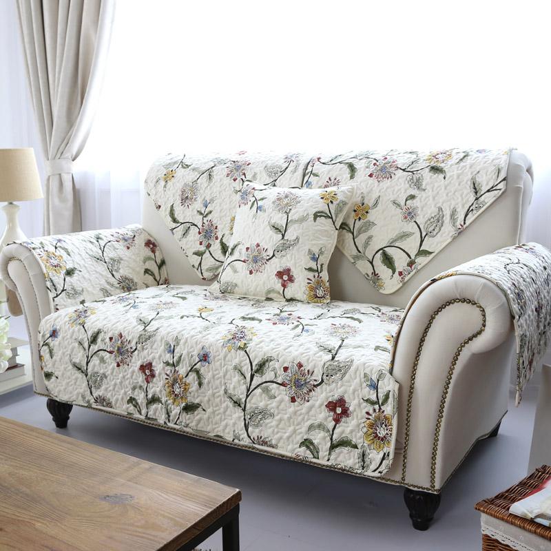 莫耐河田园风格米色花朵沙发垫2599
