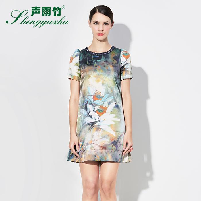 声雨竹女装专柜夏装 圆领蕾丝钉珠复古油画印花A字型短袖连衣裙