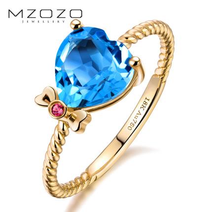 MZOZO/麦珠珠彩色宝石18K黄金心形镶嵌托帕石戒指彩色宝石女戒