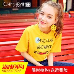 2017夏装新款女装t恤女短袖休闲圆领宽松字母印花黄色上衣打底衫