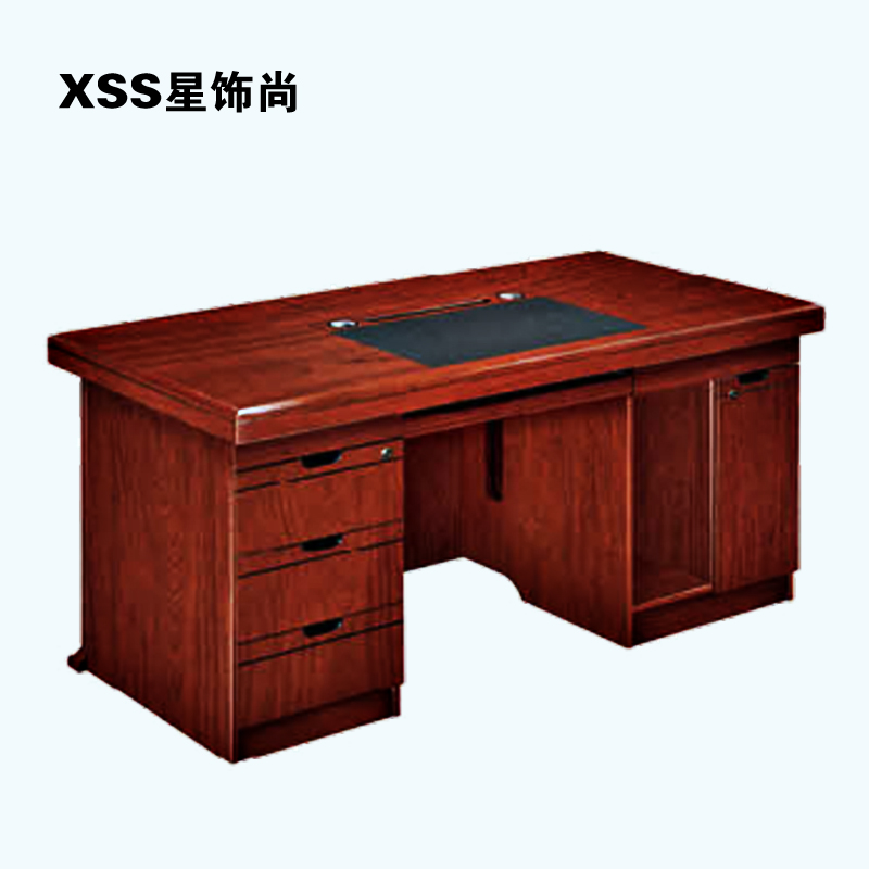 重庆实木电脑桌 政府单位领导办公桌 油漆木皮电脑桌定制胡桃色桌