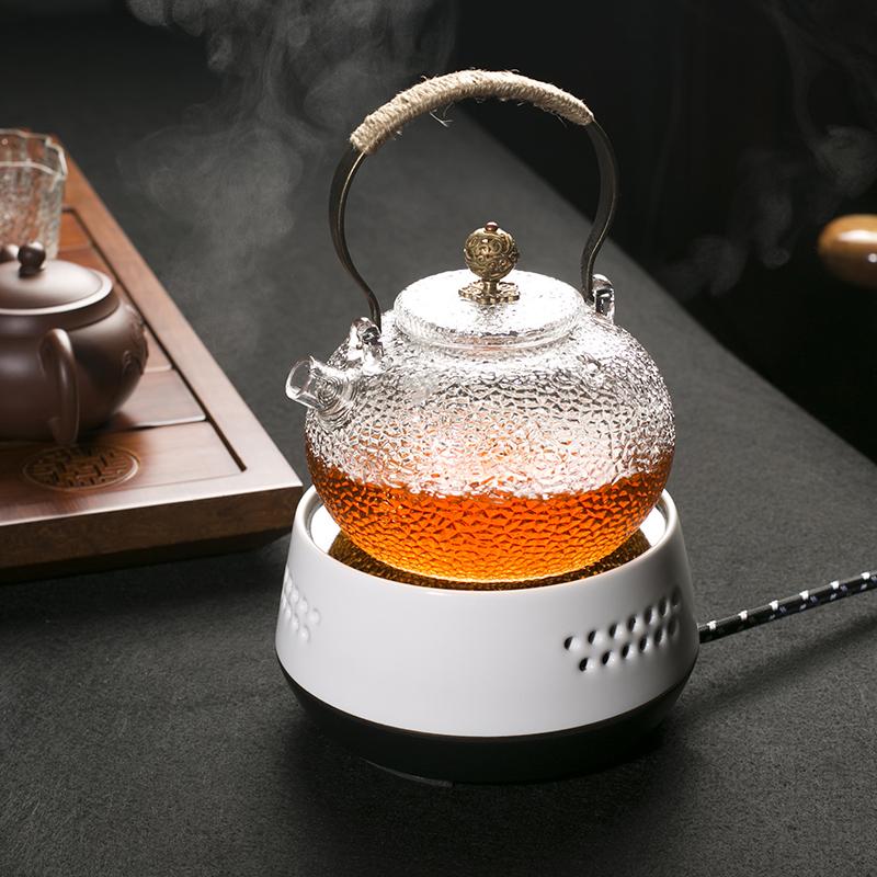 日式锤纹耐热玻璃壶煮茶器黑茶电陶炉煮水泡茶壶烧水壶家用整套装