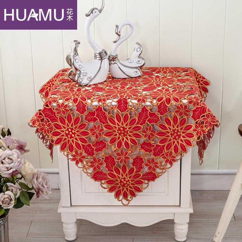 花木婚庆绣花床头柜罩