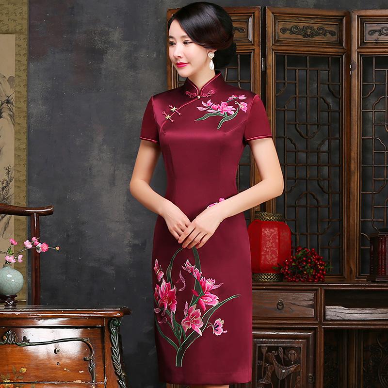 老上海真丝苏绣旗袍裙妈妈装女2018春夏季新中长款中国风结婚礼服