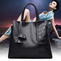 朱尔真皮女包手提包简约新款2016冬时尚品牌牛皮大容量女士包包女