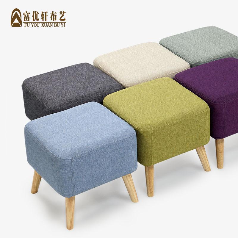 富优轩换鞋凳子小沙发实木矮脚踏欧式布艺穿鞋长床尾凳简约茶几墩