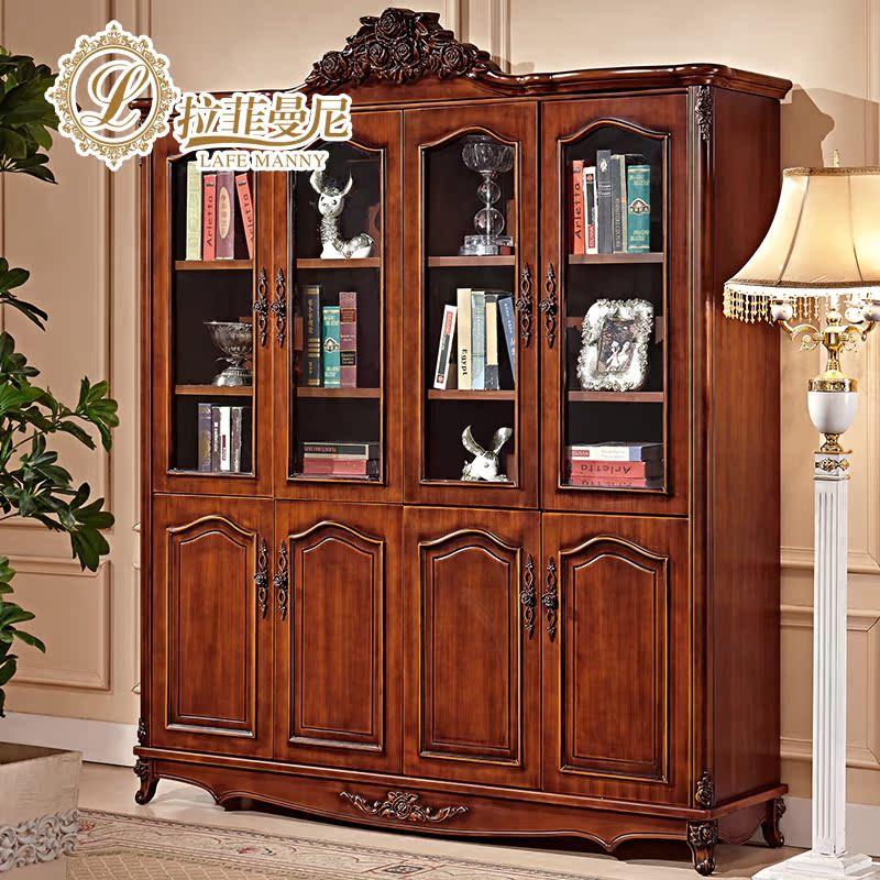 拉菲曼尼美式书柜实木书柜四门玻璃门ig002
