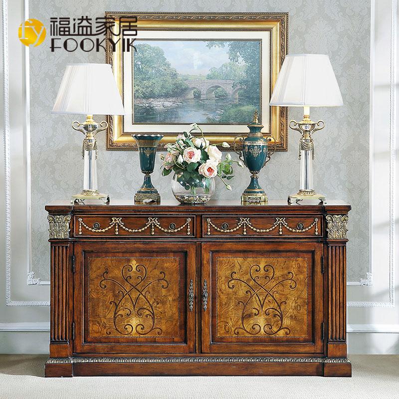 福溢家居科林斯柱雕花桌手工实木拼花拼板双门F8802-581