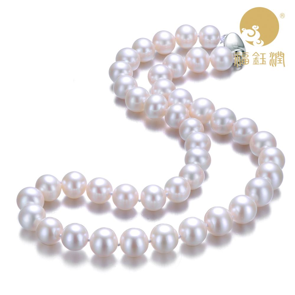 福钰润然天淡水珍珠项链女款送妈妈礼物正品长款白色饰品正圆强光
