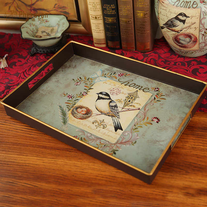 欧式客厅个性水果盘托盘茶盘摆件 美式复古创意家用装饰品摆设