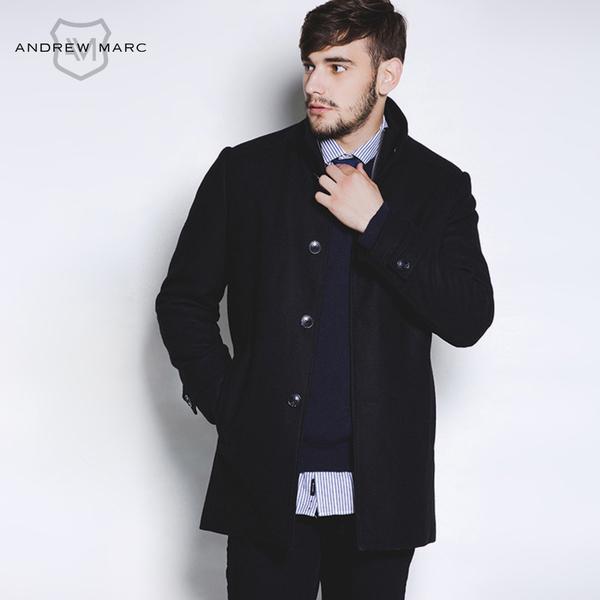 ANDREWMARC秋冬新款男士加长修身羊毛呢大衣外套风衣TM5UW149