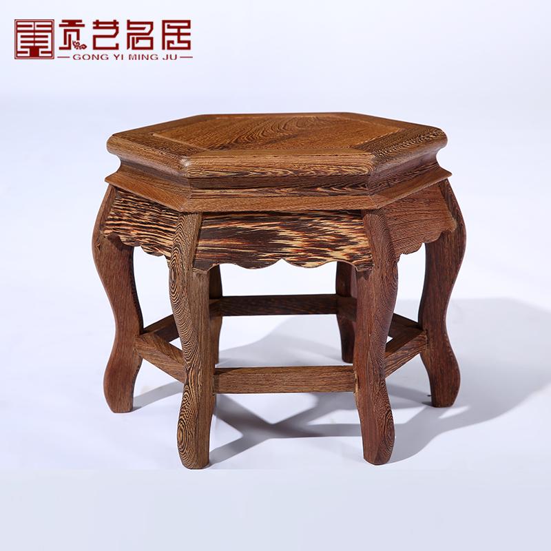 贡艺名居木家具全鸡翅木实木六角凳GY00303