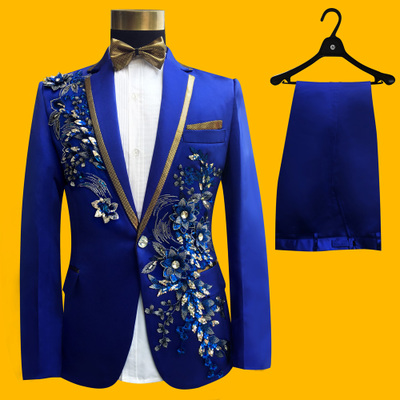 Passionate Male new wedding singer stage performance Slim prescription embroidered characteristics of the master suit suit