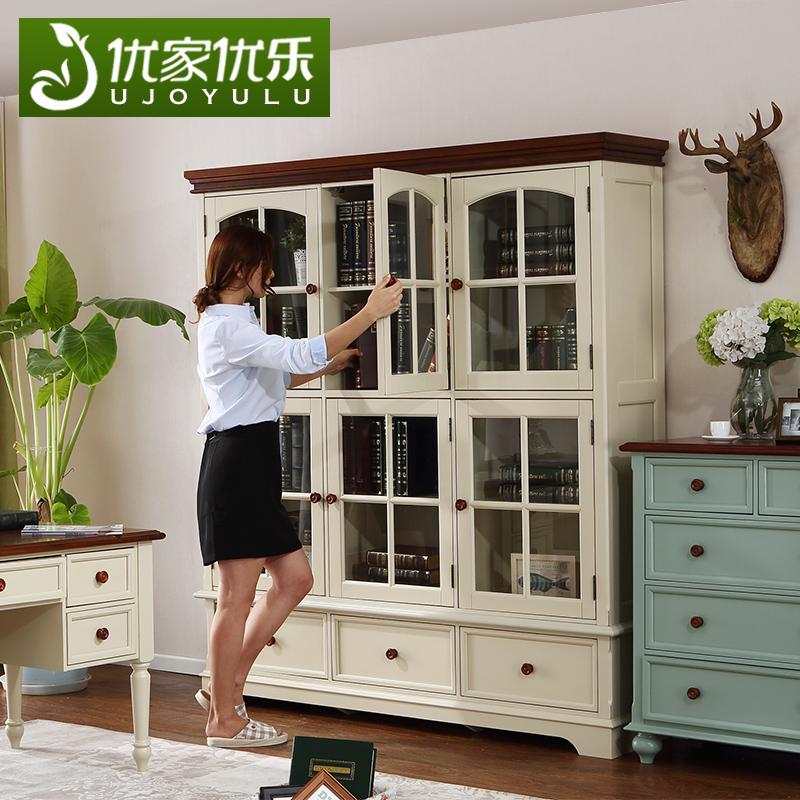 优家优乐美式乡村实木书柜