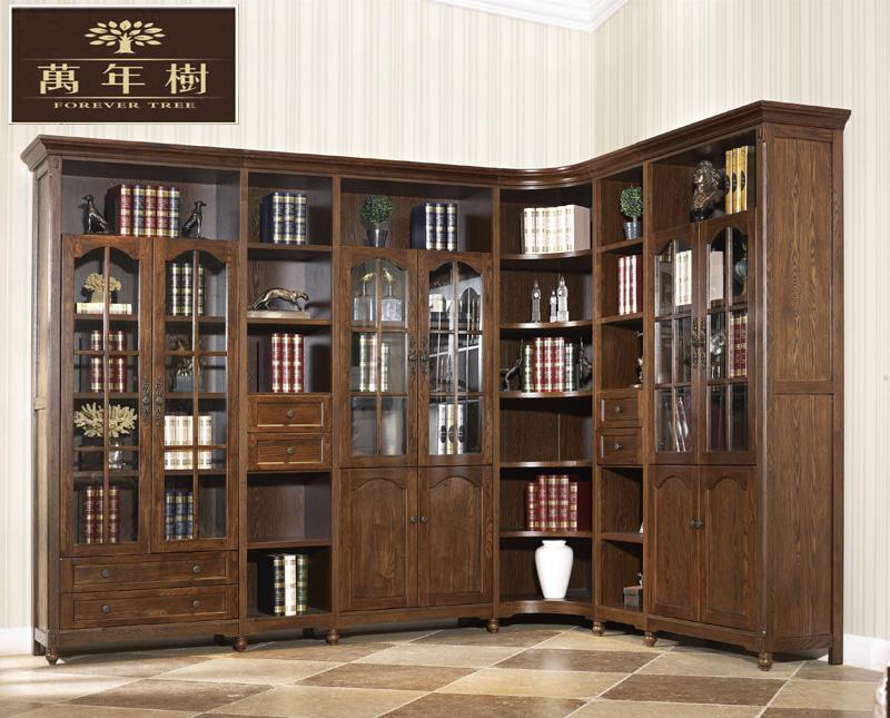 美式书柜书架实木推拉门书柜带门储物柜玻璃书橱陈列置物架