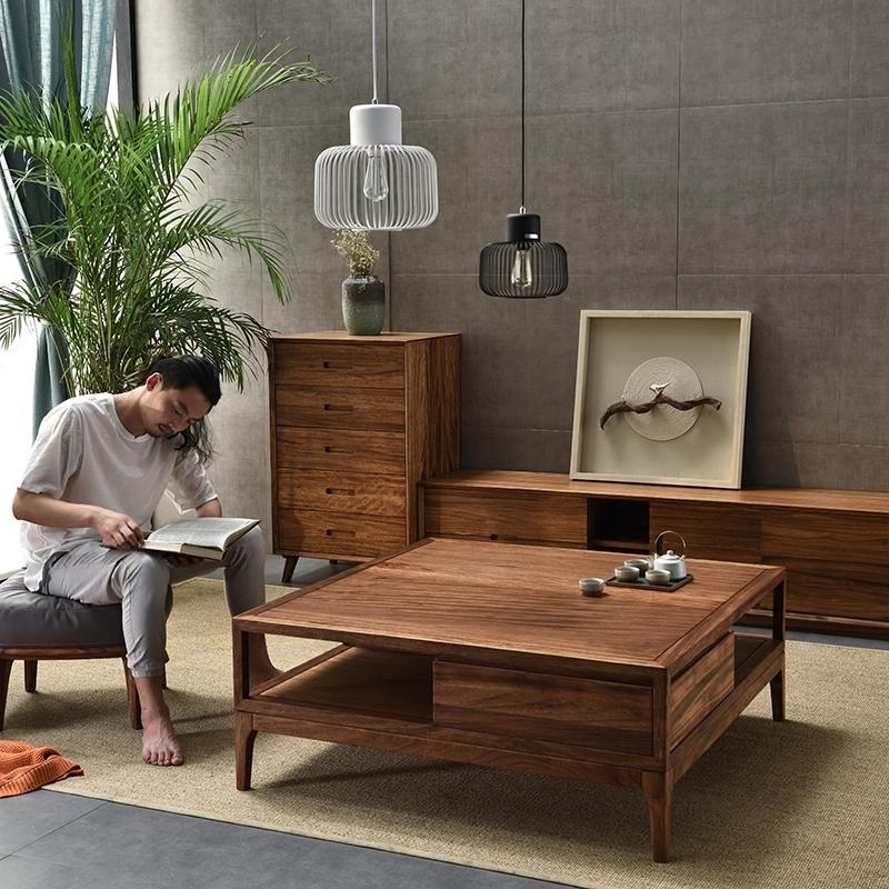 北欧正方形茶几简约客厅乌金木家具创意大茶几方形茶几储物矮桌
