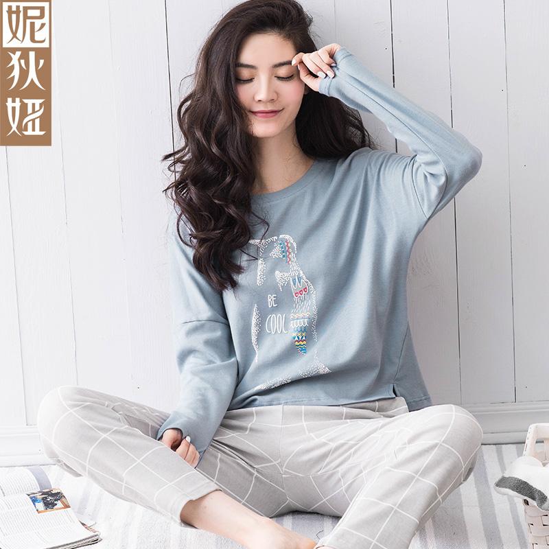 妮狄娅韩版睡衣女秋季长袖纯棉卡通甜美可爱可外穿春秋家居服套装
