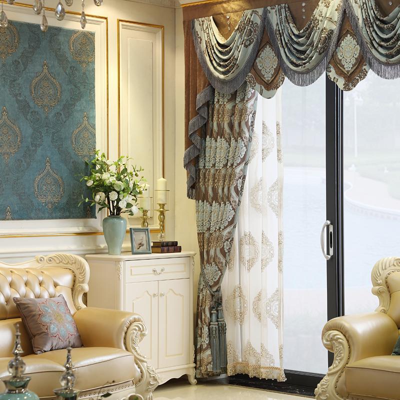 欧曼蒂中式高窗雪尼尔遮光欧式窗帘OS-6011