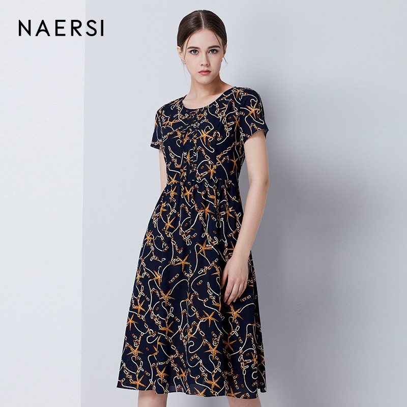 娜尔思女装雪纺连衣裙夏季新款圆领短袖印花褶皱收腰遮肚子长裙