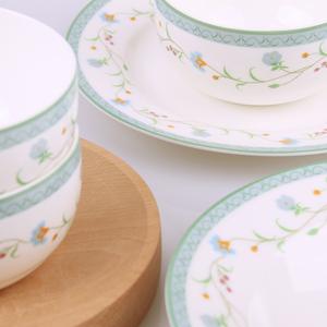 巧的木骨瓷餐具米碗家用欧式面碗蒸菜盘陶瓷碗圆形大号盘子深盘