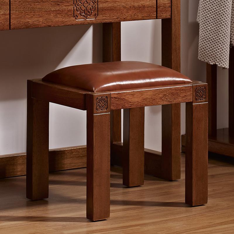 盛唐古韵中式实木梳妆凳矮凳海棠木化妆凳小凳子换鞋c801d