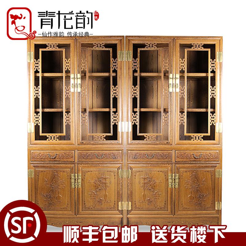 红木家具书柜实木仿古书橱鸡翅木带玻璃门多层书柜办公室储物柜