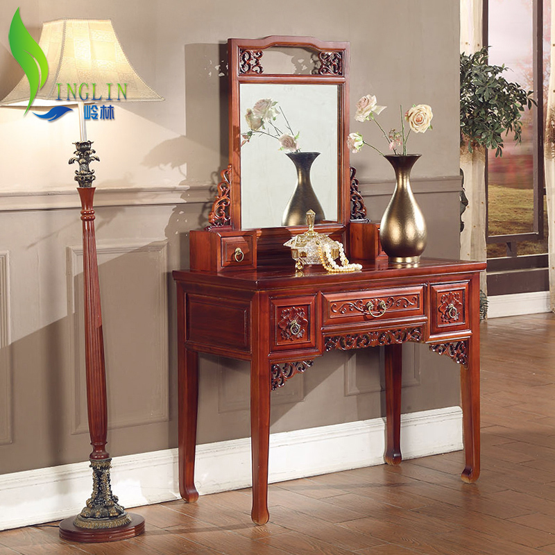 岭林中式明清古典家具香樟木梳妆凳W505