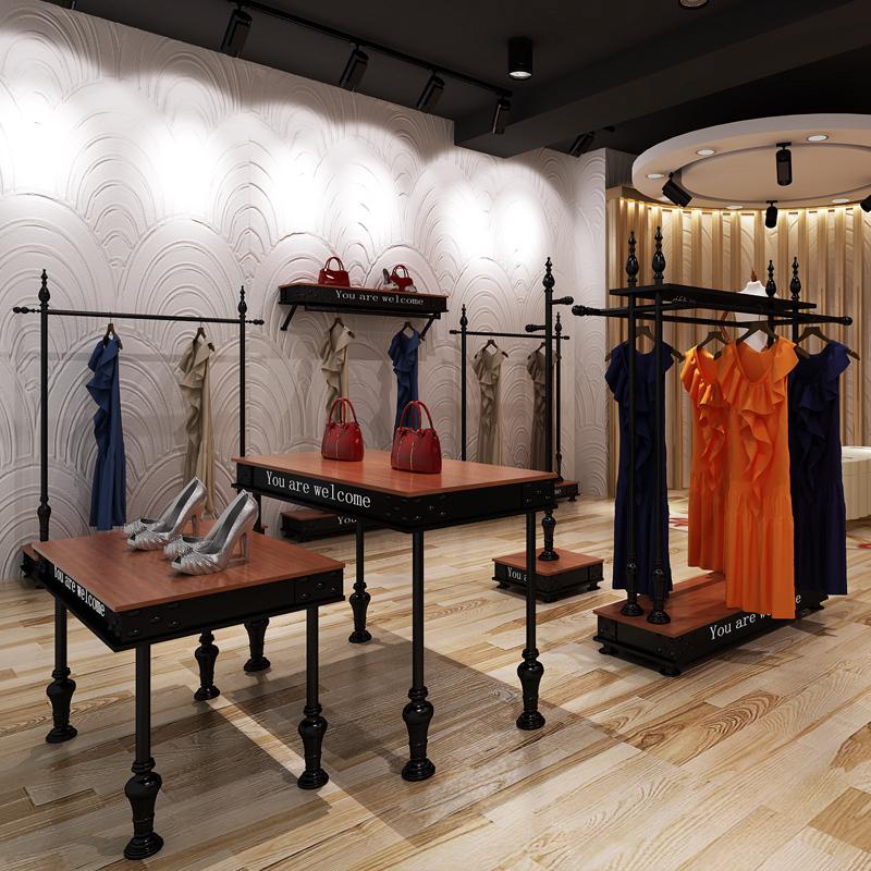 新房子服装店展示架铁艺服装架落地式衣架复古服装货架衣服架实木