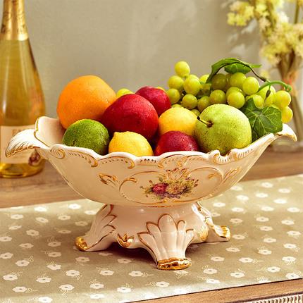 名拉 客厅摆件实用套装高脚水果盆复古装饰陶瓷欧式水果盘