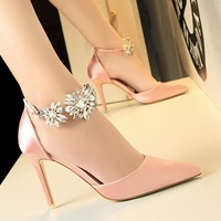 520-10 European and American wind high heels for women's shoes heel high-heeled silk light hollow mouth pointed a word diamond with sandals
