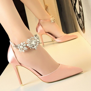 520-10 European and American wind high heels for women's shoes heel high-heeled silk light hollow mouth pointed a word d