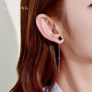 日韩国s925银耳环女气质耳线 简约个性四叶草吊坠长款流苏耳坠钉