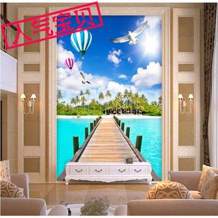 欧式3d无缝壁画电视背景墙壁纸餐厅卧室玄关墙布海景风景墙纸墙布