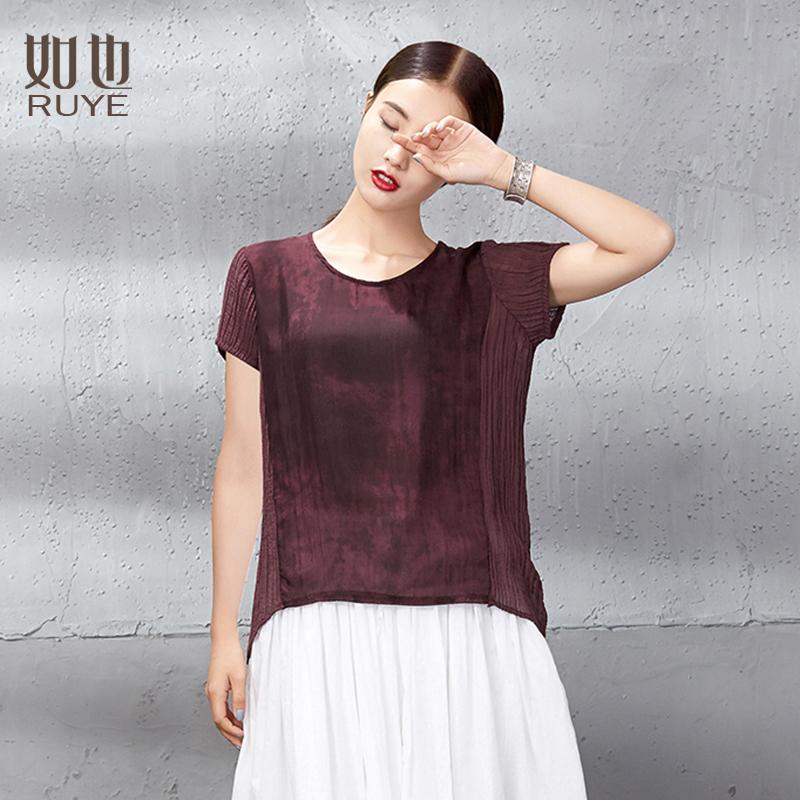 如也真丝上衣女夏2018宽松短袖棉麻t恤女短款红色圆领桑蚕丝上衣