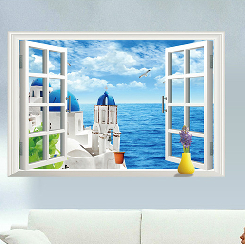 Seascape Creative Fake Window Wall Stickers Living Room Bedroom Bathroom  Waterproof Wall Decoration Home Room Ornament Stickers