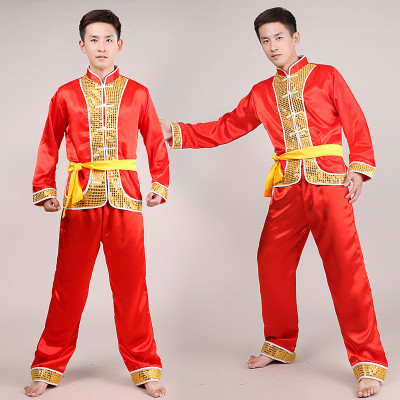 Ethnic Dance Inspired Dragon Dance Lions Long Sleeve Drum Dragon Light Dragon Boat Race Yangge Performance Costumes Men's Drums