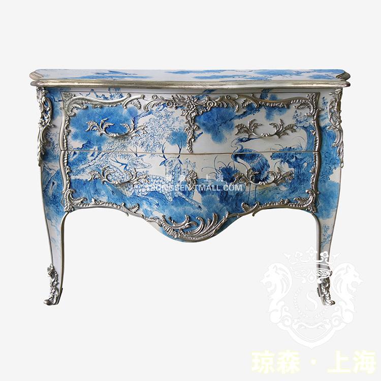 琼森蓝色手绘新古典柜9x001 (1)