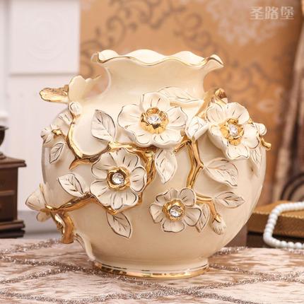 圣路堡花瓶 欧式花瓶摆件陶瓷干花花瓶客厅插花家居饰品瓷器