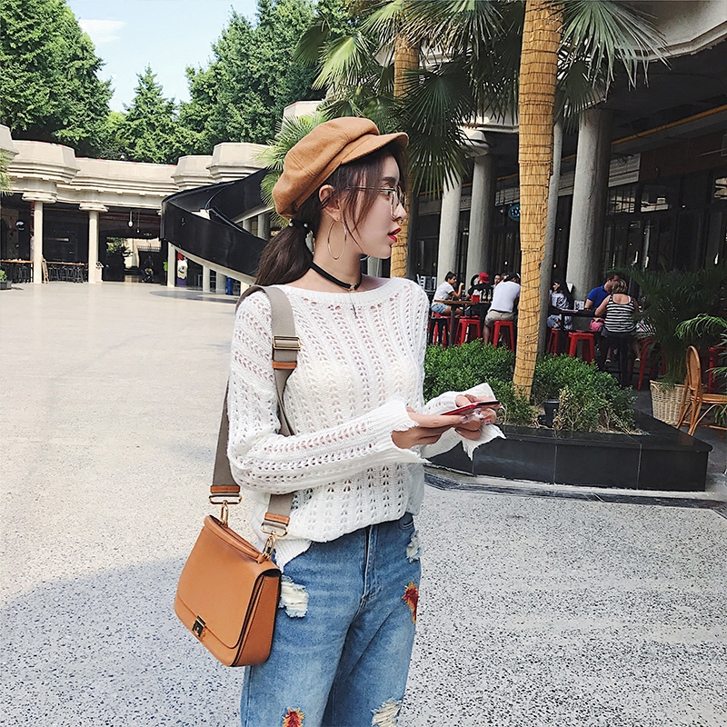 秋季新款长袖白色镂空破洞针织衫女套头中长款毛衣女宽松网格罩衫